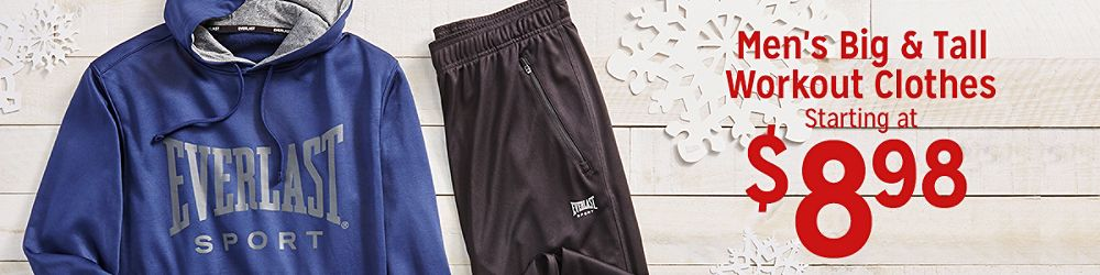 Men's Big & Tall Workout Clothes Starting at $8.98