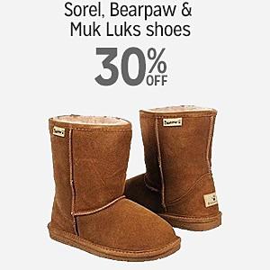 30% off Sorel, Bearpaw & Muk Luks shoes