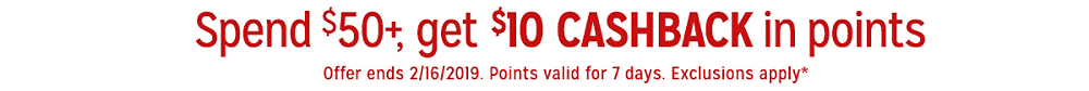 Spend $50, get $10 CASHBACK in points