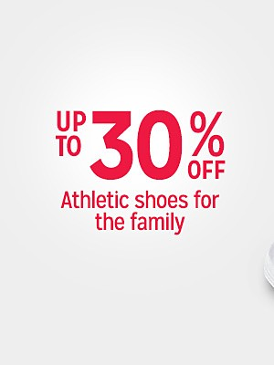 Up to  30% off athletic shoes for the family