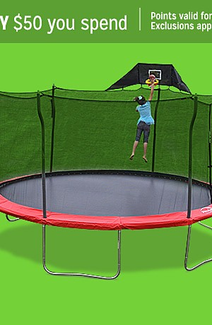 Propel 12' trampoline with enclosure, $179.99 | Propel 15' trampoline with enclosure and anchor kit, $269.99
