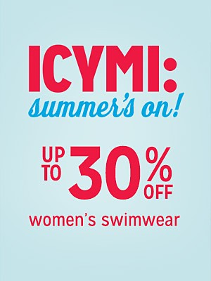 Up to 30% off women's swimwear