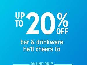 up to 20% off barware