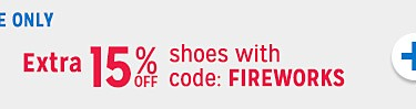 extra 15% off clothes with code FIREWORKS