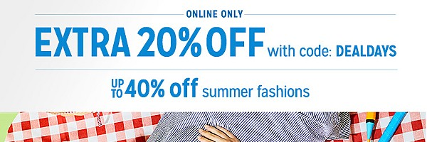 up to 40% off clothes + extra 20% off with code DEALDAYS