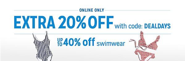 up to 40% off swim + extra 20% off with code DEALDAYS