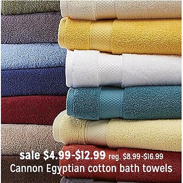 Cannon Egyptian Cotton Bath Towels Hand Towels or Washcloths sale $4.99-12.99 | reg $8.99-16.99