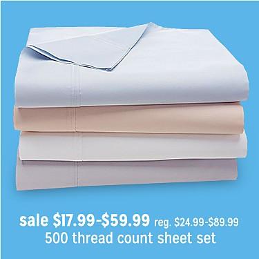 Jaclyn Smith 500 Thread Count Sheet Set sale $17.99-59.99 | reg $24.99-89.99