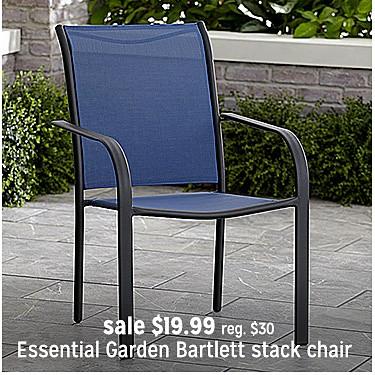 Essential Garden Bartlett split sling stack chair sale $19.99 | reg $30
