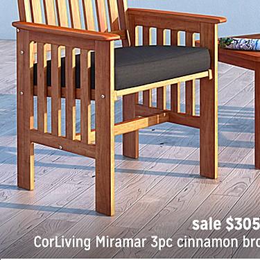 CorLiving Miramar 3pc Cinnamon Brown Hardwood Outdoor Chair and Side Table Set sale $305.99 |  reg. $513.99
