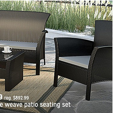 CorLiving Cascade 4 pc. Rope Weave Patio Seating Set $557.99 | reg $892.99