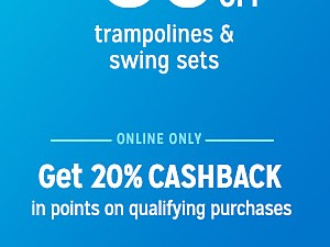 up to 30% off trampolines & swing sets