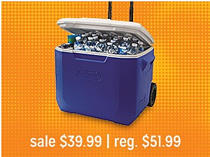 Coleman 60 qt. Wheeled Cooler sale $39.99 reg $51.99