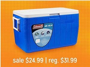 Coleman 48 qt. Chest Cooler sale $24.99 | reg. $31.99