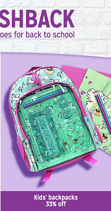 kids' backpacks up to 33% off