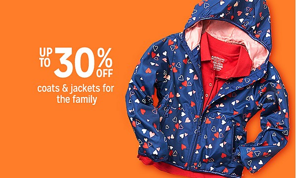 Up to 30% off coats & jackets for the family