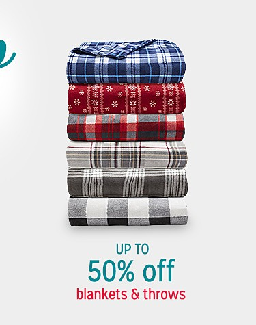 Up to 50% off blankets & throws