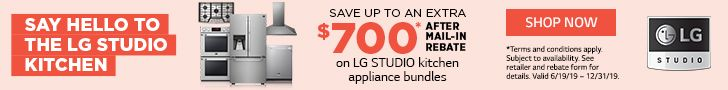 Get an LG Visa® Prepaid Card worth up to $700 by mail-in rebate or online at  www.lgrebatecenter.com when you bundle eligible LG STUDIO Kitchen Major Appliance purchases.