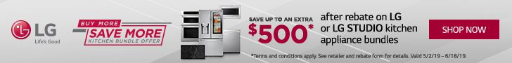 Get up to $500 rebate when you bundle LG or LG Studio major kitchen appliances