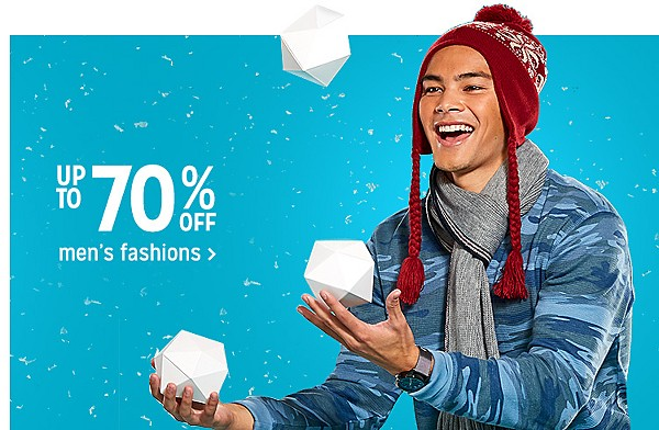 Up to 70% off men's fashions