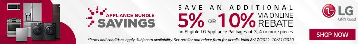 Get an additional 5-10% back by mail-in rebate when you bundle eligible LG appliances