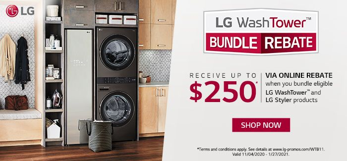 Get up to $250 back by rebate when you bundle eligible LG WashTower and LG Styler products