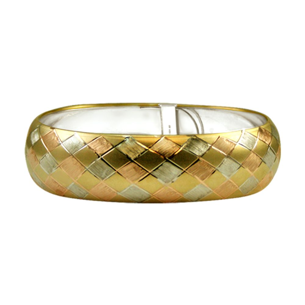 10kt and Sterling Silver Tri Color Flex Bangle