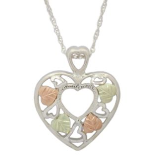 Black Hills Gold  Tricolor Sterling Silver Heart Pendant