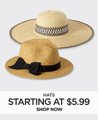 Hats starting at $5.99 Shop Now