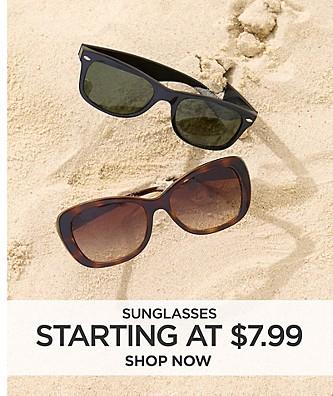 Sunglasses starting at $7.99