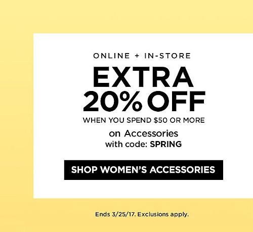¡EN LÍNEA + EN TIENDA! 20% de descuento extra cuando gastas $50 o más en ropa y accesorios con código SPRING. Finaliza el 3/25/17. Se aplican exclusiones. Ver detalles.