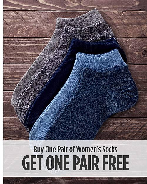 Buy one pair of women's socks, get one pair free