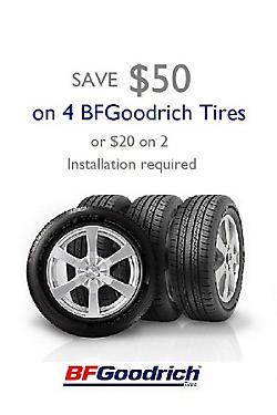 Save $50 on 4 BFGoodrich Tires Or save $20 on 2