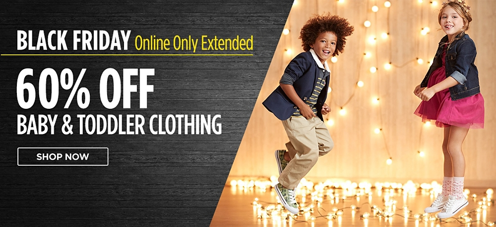 Black Friday online only extended! 60% Off Baby & Toddler Clothing. Shop now