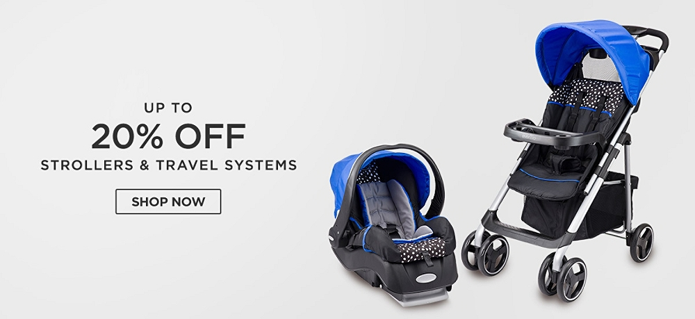 Up to 20% off strollers & travel systems