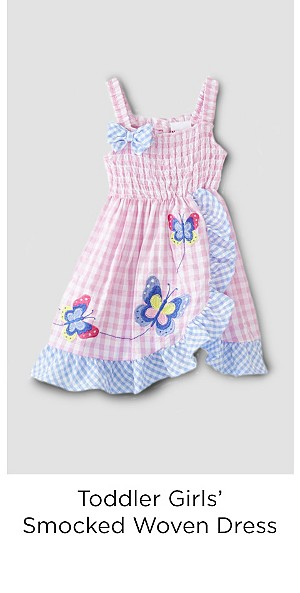 Toddler Girls' Smocked Woven Dress - Plaid/Butterfly