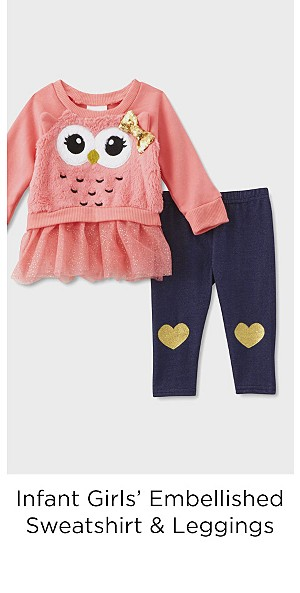 Children's Apparel Infant Girls' Embellished Sweatshirt & Leggings - Owl