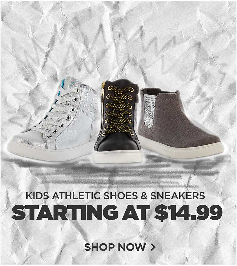 Kids Athletic Shoes & Sneakers Starting at $14.99