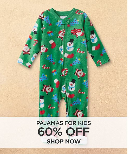 60% off pajamas for kids. shop now