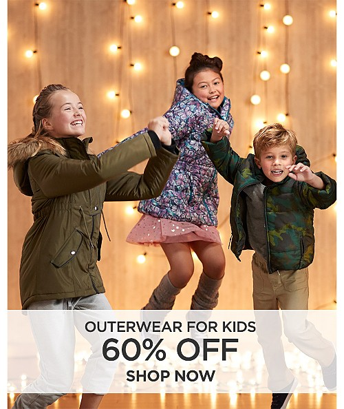 60% off outerwear for kids. Shop now