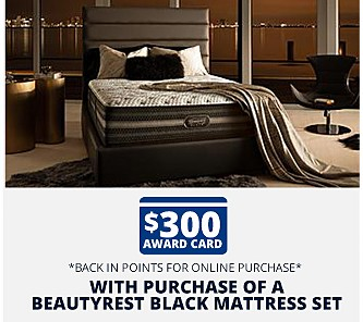 Free $300 Award Card*  *Back in Points for Online Purchases with Purchase of a Beautyrest Black Mattress Set