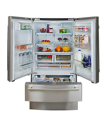 The New Four Door Counter Depth Refrigerator From Bosch Features Two Drawer  Access To A Single Cavity Freezer, A Dual AirCool System, A Retractable  Shelf, ...