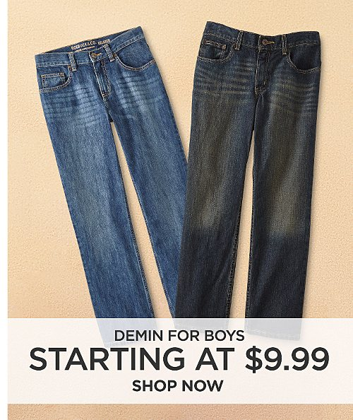 Denim for boys starting at $9.99. Shop now