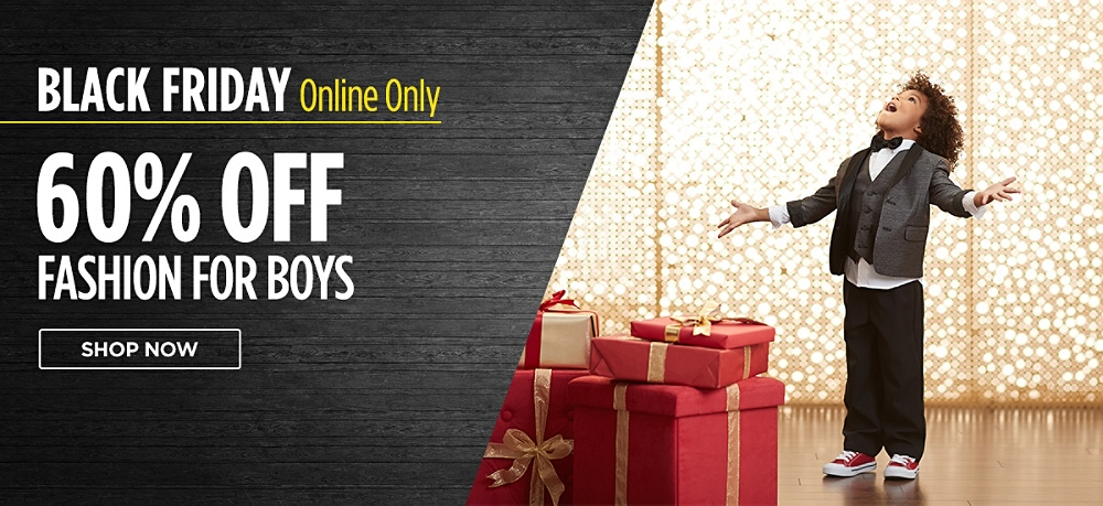 Black Friday online only! 60% off fashions for boys