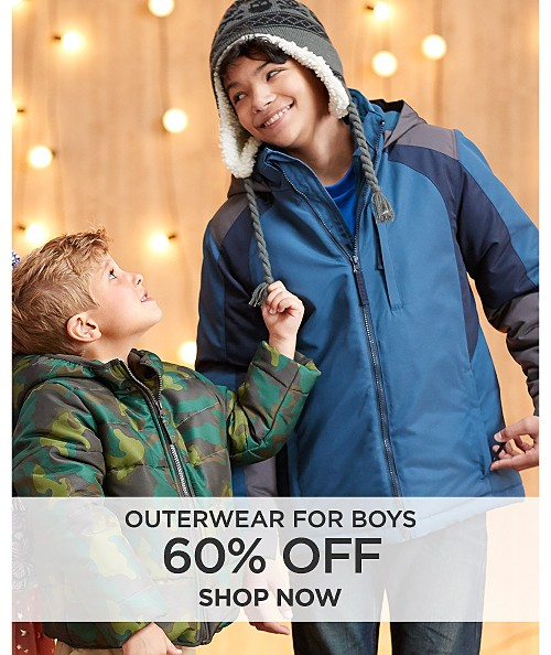 60% off outerwear for boys. Shop now