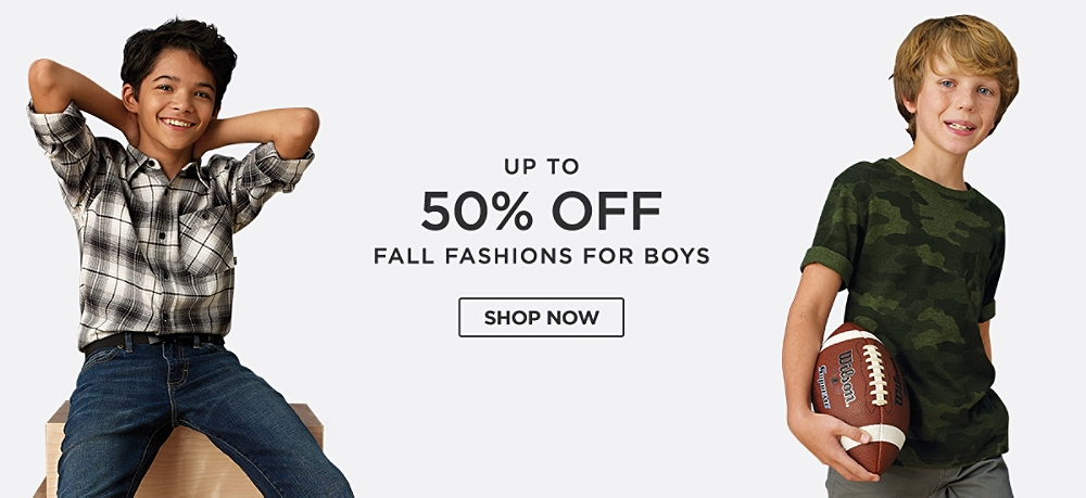 Up to 50% off Fall fashions for boys