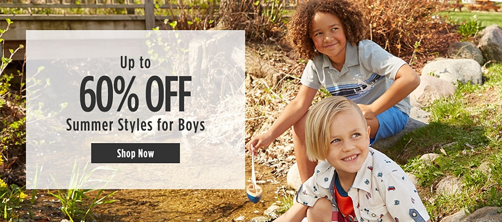Up to 60% off Summer Styles for Boys