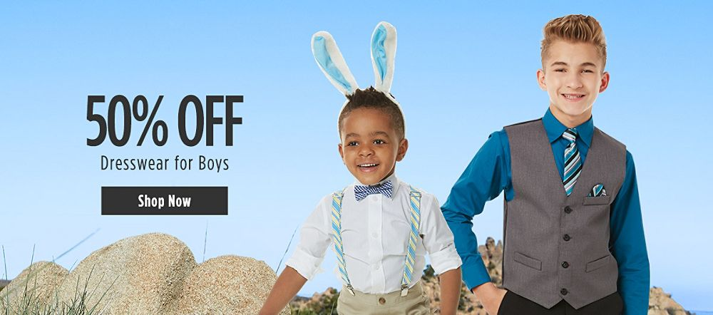 50% off Dresswear for Boys. Shop now