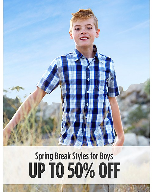 Up to 50% Off Spring Break Styles for Boys. Shop now