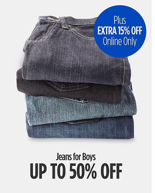 Up to 50% Off Jeans for Boys + Extra 15% Off Online Only. Shop now